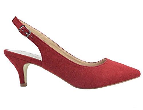 Greatonu Chaussures Femme Escarpins Sandales Suédé Mi Talon EU 36-41 red