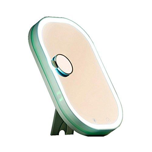 Schminkspiegel LED-Nachtlicht mit sprachaktiviertem Uhrdisplay Großer Spiegel kann an der Wand befestigt werden Gebrauch des Schminkspiegels USB-Laden , green (clock, voice activated version)