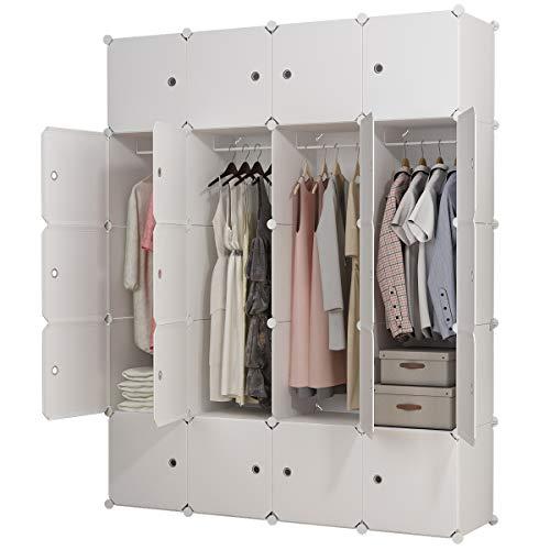 Koossy Erweiterbares Kleiderschrank mit Aufkleber für Kinderzimmer, 148 x 47 x 185 cm, Weiß