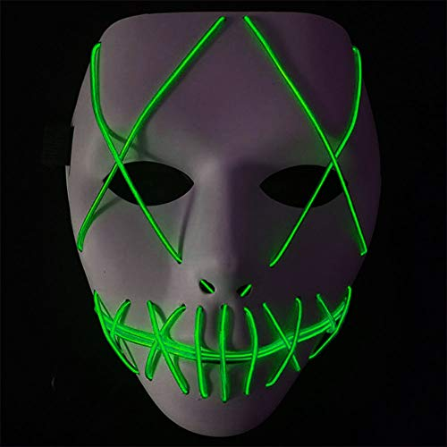 Xuba unisex light up glowing horror maschera dance party led maschera per halloween festival cosplay party, fluorescent green