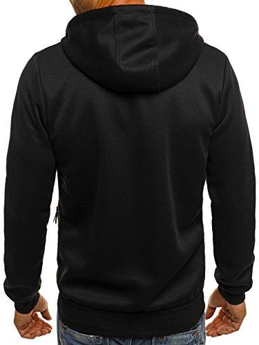 ozonee Felpa con cappuccio Uomo Felpa Pullover pullover sportivi Felpa RED Fireball 2819 NERO_rf-2819