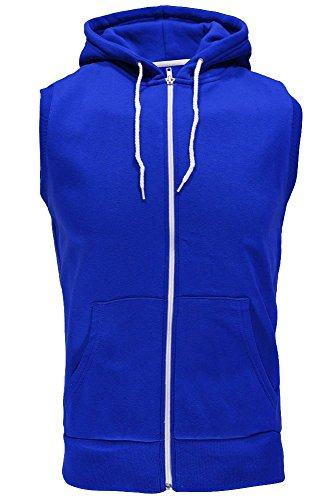 Männer Sleeveless Sweatshirt Hoodies Top (Large, Königsblau)