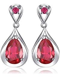 755734e36ea3 JewelryPalace Gota de agua de las mujeres 8.8ct creó rojo rubí cuelgan  pendientes plata de