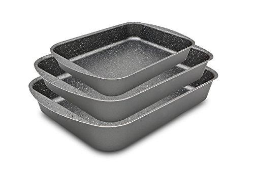 menax Focus–Oven Roasting Tin Aluminium -5capas- Coating Premium Non-Stick Stone Made In Italy - Set 25-30-35 cm grey