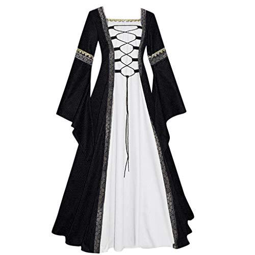 Orderking Damen Langarm Costumes Vintage Mittelalter Kleid bodenlangen Cosplay Dress Age Mittelalter Kleidung Große Größen Renaissance Kostüm Lang Halloween - Paare Gamer Kostüm
