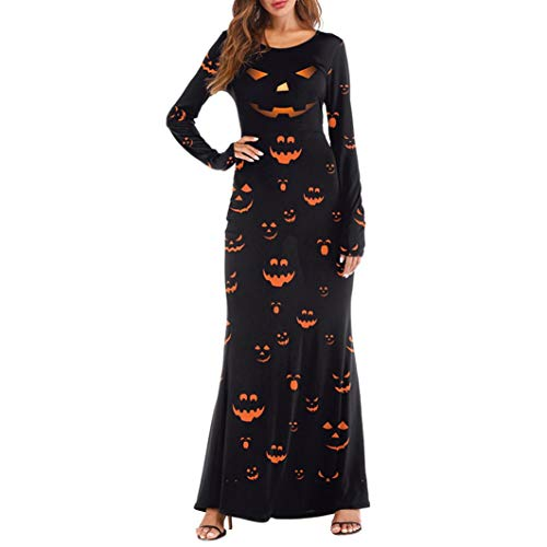 MIRRAY Damen Langarm Kleider Halloween Kürbisse 3D Print Casual Party Lange Maxi Kostüm