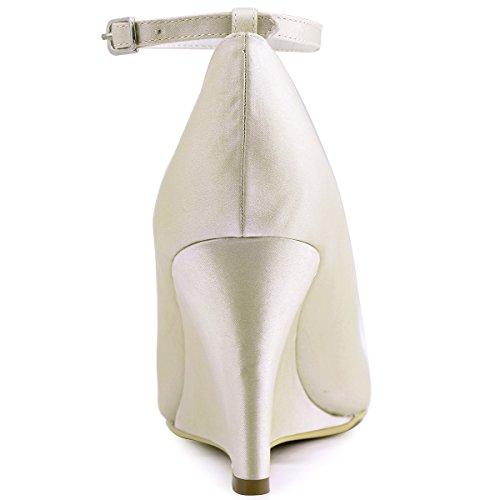 Elegantpark A610 Damen Satin Runde Geschlossene Zehen Keile Brautschuhe Champagner