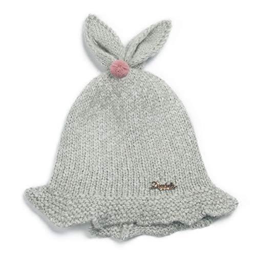 Easy Go Shopping Bonnet en Tricot Doux pour Enfants Bonnet en Tricot Chaud Automne Hiver Bonnets Oreilles Bunnys (Couleur : Gris)