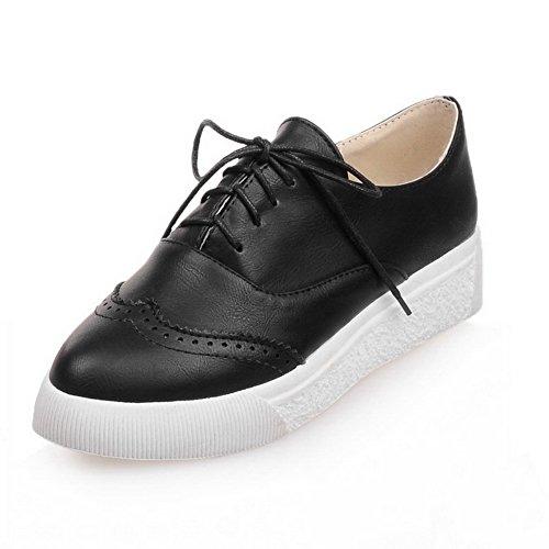 VogueZone009 Femme Lacet Pointu à Talon Bas Pu Cuir Couleur Unie Chaussures Légeres Noir