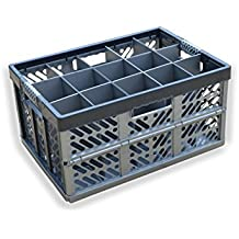 vetreria Storage box–pieghevole container- 15celle, pieghevole supporto in plastica, fino a 50kg//bicchieri da birra–vetreria box–Capacità 45litri–altezza massima di vetro = 245mm–larghezza max vetro = 97mm