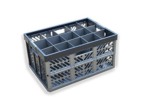 VERRERIE Boîte de rangement – pliable Container- 15 Cells, pliable Cage de plastique, jusqu'à 50 kg/Contenance de 45 litre – Boîte de Verrerie – Bière/verres à bière – Un maximum de verre hauteur = 245 mm – Largeur maximale de verre = 97 mm