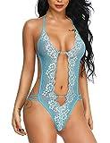LALAVAVA Damen Dessous Sexy Spitze Negligee Babydoll Bodysuit Lingerie Body Reizwäsche Reizvolle Neckholder Unterwäsche Tiefer (MEHRWEG)(Hellblau, L)