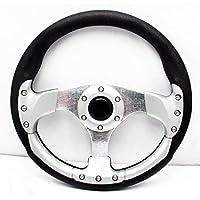 Volante deportivo de carreras de aluminio de 350 mm con botón de cuerno de poliuretano,