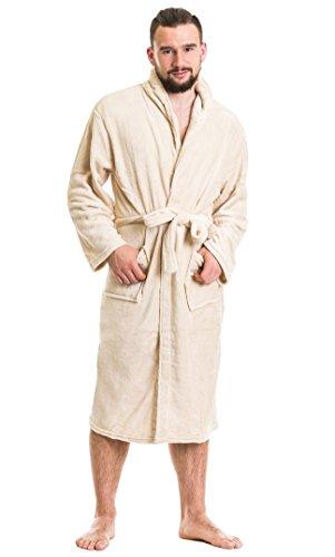 Mia Cossotta toller Microfaser-Unisex-Mantel mit elegantem Kragen, zwei Taschen und Bindegürtel, creme, Gr. S/M (Jersey-sleepshirt)