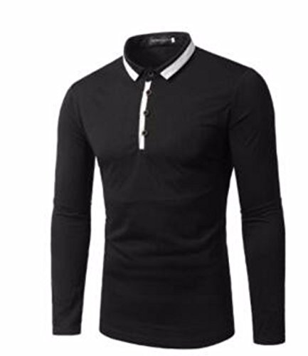 Men's British Style Long Sleeve Tops Polo Shirt Black