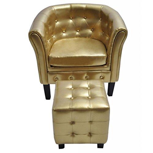 vidaXL Edle Chesterfield Sessel Lounge Couch Sofa mit Sitzhocker Wohnzimmer GOLD
