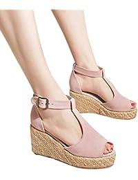 7daa95e28652 KItipeng Chaussure Femme — Sandale Femme Talon Compense,Imprimé LéOpard  SuèDe Surface ,Compense Talon