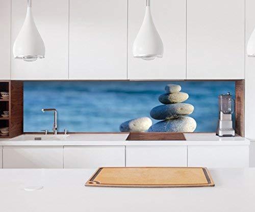 Aufkleber Küchenrückwand Wellness Zen Steine Meer Strand Folie selbstklebend Dekofolie Fliesen Möbelfolie Spritzschutz 22A159, Höhe x Länge:80cm x 300cm