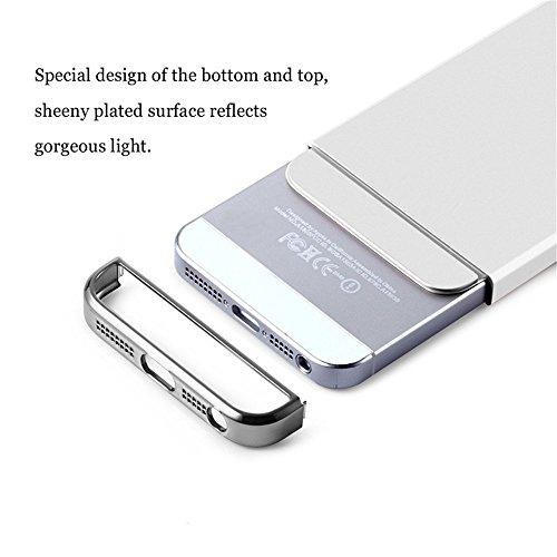 Cover iPhone 5 Custodia,Qissy®3 in 1 Hard PC Ultra Sottile Anti-Scratch Bumper Protettiva Cover Case per iPhone 5 5s SE 4.0 Silver