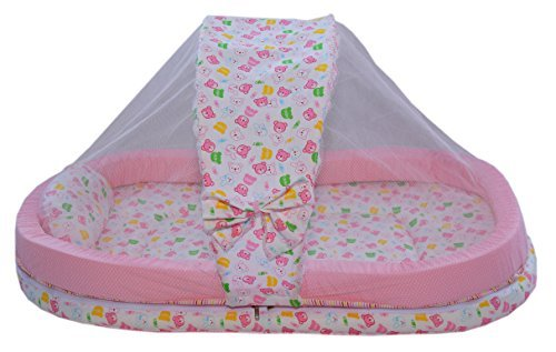 Amardeep and Co Mattress with Mosquito Net and Bumper Guard (Pink) - MT-06-Pink-Teddy