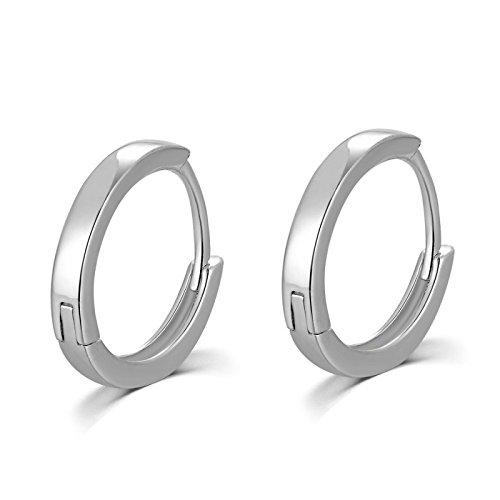 925 Sterling Silver Polished Finish Hoop Huggie Creole Earrings (13MM) Women Jewellery/ Girlfriend Small Gift