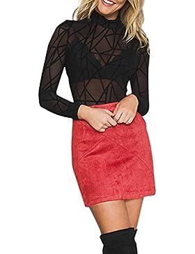Simplee Apparel de la mujer patchwort simil cuero cremallera Cintura alta falda Bodycon Mini Corta Ponte Suede