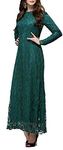 Arkind Robe Mousline Dentelle Longue de Bal Costumé ou Danse Soirée Robe Cérémonie de Mariage pour Femme Vert