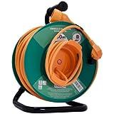 Chacon 89076  - Carrete alargador de cable para jardín, con seguridad térmica (1,5 mm x 50 m)