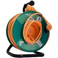 Chacon 89076 Dérouleur de jardin avec sécurité thermique 3 x G 1,5 mm 50 m Tambour Vert