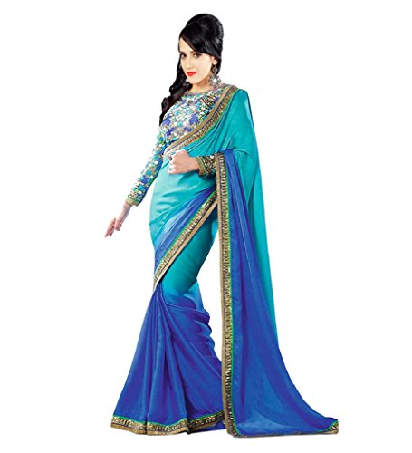 Glory Sarees Satin Saree (Glory35_Blue)