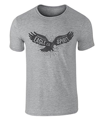 Vintage Style American Bald Eagle, Amerikanische Weißkopfseeadler, Spirit Badge Icon T Shirt, Herren, Grau, X-Large (Patriot-eagle-t-shirt)