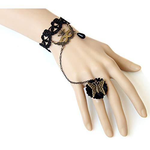Partiss Armband mit maske Fingerring Spitze Masquerade lolita Kostuem Gothic Steampunk Schmuck fuer Halloween Cosplay,one size Black