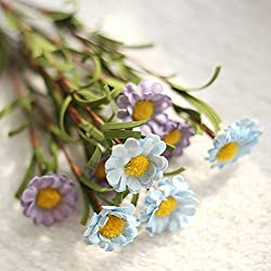EDtara Pequeño Ramo de Margaritas Artificial con 8 Cabezas de Flores decoración de la Boda Sky Blue Purple