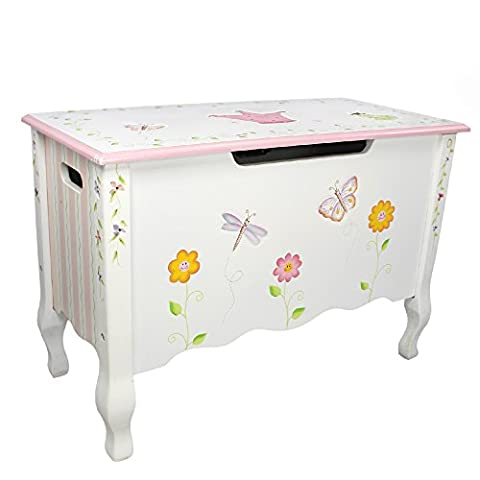 Fantasy Fields - Princess & Frog themed Kids Wooden Toy Chest Toy Box with Safety Hinges | Hand Crafted & Hand Painted Toybox Toy Storage Unit | Child Friendly Water-based