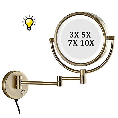 Koimg Espejo De Aumento De Pared con Luz Led 5X Ampliación Doble Cara Giratorio Espejos Extensibles...