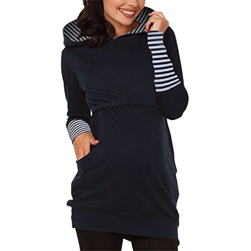 Sidiou Group Maternity Hoodies For Women Pregnancy and Nursing Hoodie Pullover Breastfeeding Sweatshirt Top (Navy Blue, M)