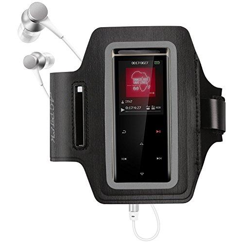 Verstellbar wasserdichter MP3 Player Armband mit reflektierendem Streifen für Nachts Sicherheit, von AGPTEK, Schwarz