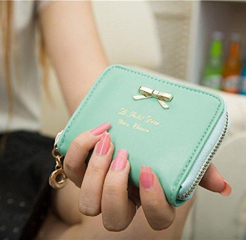 Geldbörsen, Rcool Mode Damen Clutch Geldbörse kurze kleine Tasche PU-Kartenhalter (Schwarz) Hellblau