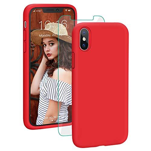 ProBien Hülle für iPhone X/iPhone XS, Silikon Handyhülle mit Kostenlos Panzerglas,Anti-Fingerabdruck Schutzhülle Kratzfest Bumper Case Cover für iPhone X/iPhone XS-Rot