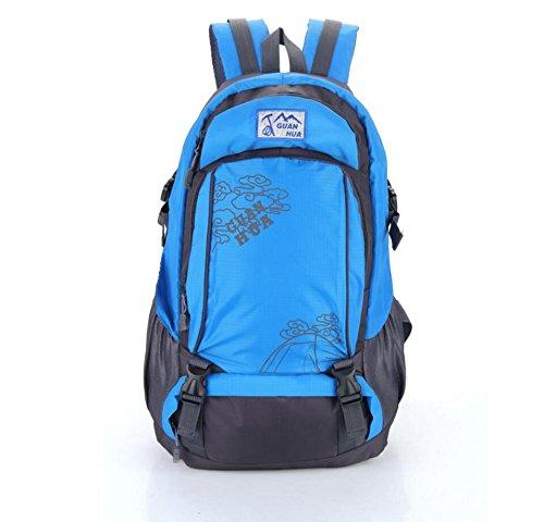 LQABW Bergsteigen Im Freien Reit Schulter-Spielraum Männer Und Frauen 50L Oxford Tuch Atmungsaktive Wasserdichte Wanderrucksack Tasche Blue