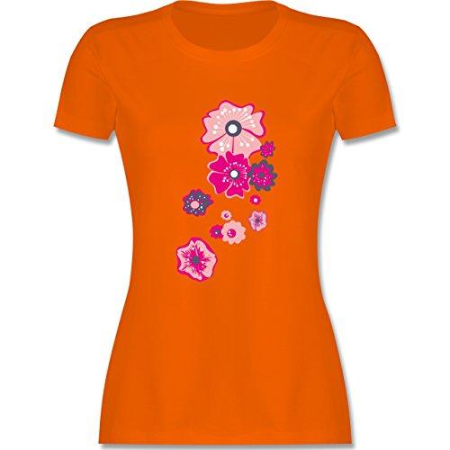 Blumen & Pflanzen - Blumen - tailliertes Premium T-Shirt mit Rundhalsausschnitt für Damen Orange
