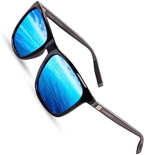 SUNMEET Sonnenbrille Herren Polarisierte für Männer Jahrgang Retro Sonnenbrille Herren Unisex UV400 S1001(Blau/Gun)