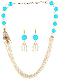 AccessHer Sky Blue And White Pearls And Beads Necklace Set For Women