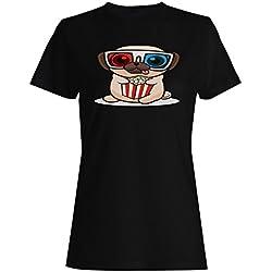 Divertido Popurrí Pug Bebé camiseta de las mujeres r801f