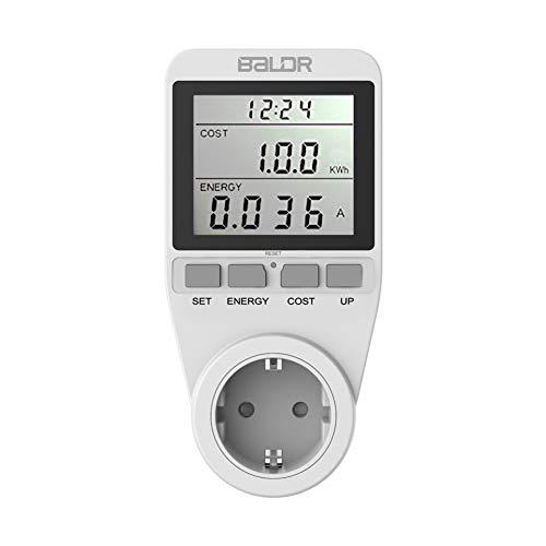 DKEyinx Presa LCD Digitale, Wattmetro Spina UE Energia Watt Energia Metro Tenere sotto Controllo Voltometro Amperometro Bianco