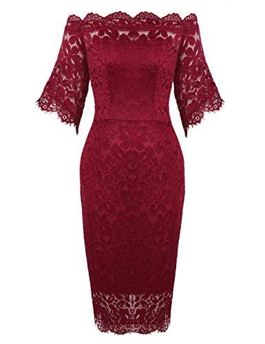 ANGGREK Damen Elegantes Spitzen Kleid Etuikleid Partykleid Kurzarm Cocktailkleider Hochzeit Ballkleid (Plus Size Frauen Schößchen-kleid)
