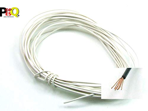 POPESQ® 5 m x Draht 1 polig 0.5mm² Litze PKW Weiß / 5 m x Wire 1 way 0.5mm² Stranded Automobile White #A406