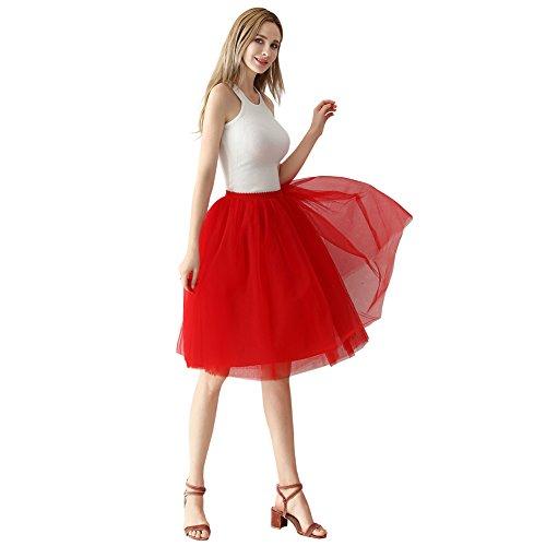 lf Petticoat A-Linie Tutu Tüllrock Party Abschlussball Jupe Saias Brautjungfernkleid Rot (Den Film 300 Halloween Kostüme)
