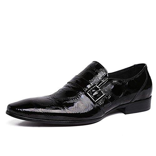 Männer Schlüpfen Hochzeit Patent Leder Schuhe Schwarz Formal Geschäft Spitz Zehe Oxford zum Männer Party Größe 38-45 , black , EUR 40/ UK 7 (Leder-flip-flops Schwarz Patent)
