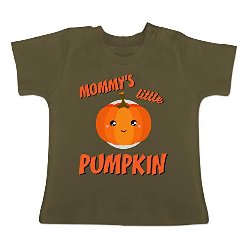 Anlässe Baby - Mommys Little Pumpkin Halloween - 1-3 Monate - Olivgrün - BZ02 - Baby T-Shirt Kurzarm (Halloween-kostüme Gruppen Niedliche 4 Für Von)